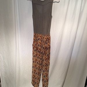 Anthropologie Pants - Lilka Jumpsuit Romper Waist Navy White Brown SZ M